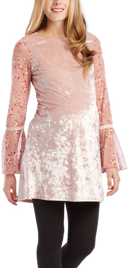 Blush Velvet Bell-Sleeve Maternity Tunic