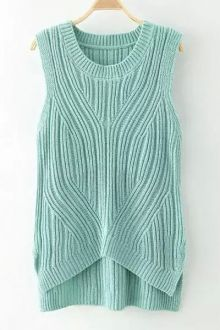 Solid Color High Low Sleeveless Sweater