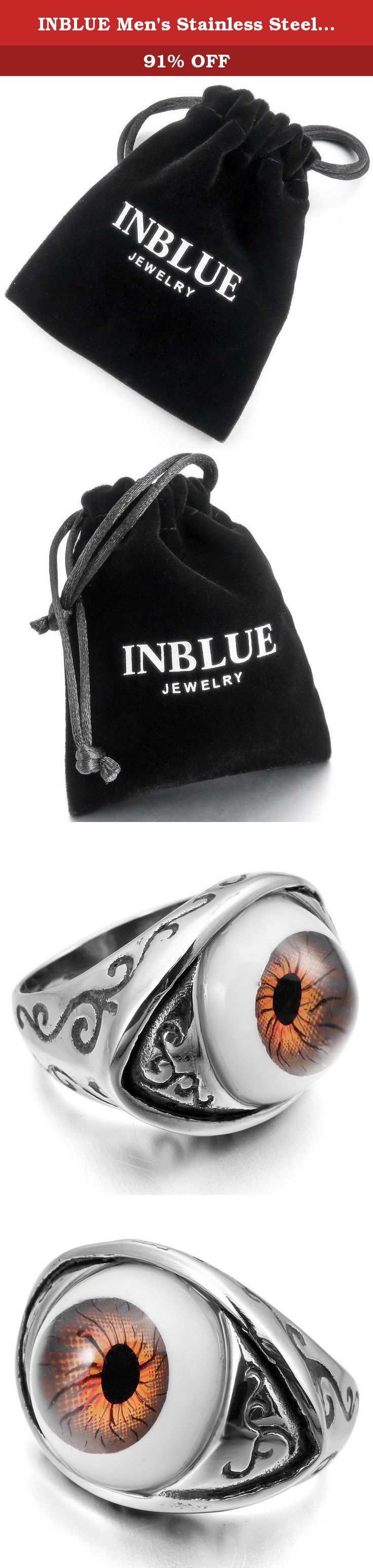 INBLUE Men's Stainless Steel Ring Silver Tone Brown Black Evil Devil Eye Size14. INBLUE - High quality Jewelry Discover the INBLUE Collection of jewelry. The selection of high-quality jewelry featured in the INBLUE Collection offers Great values at affordable Price, they mainly made of high quality Stainless Steel, Tungsten, Silver and Leather. Find a special gift for a loved one or a beautiful piece that complements your personal style with jewelry from the INBLUE Collection. .