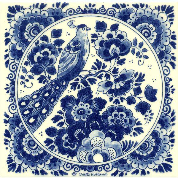 DELFTS BLAUW TEGEL VOGEL BLOEMEN - Delfts blauw tegels - Holland Souvenir Shop