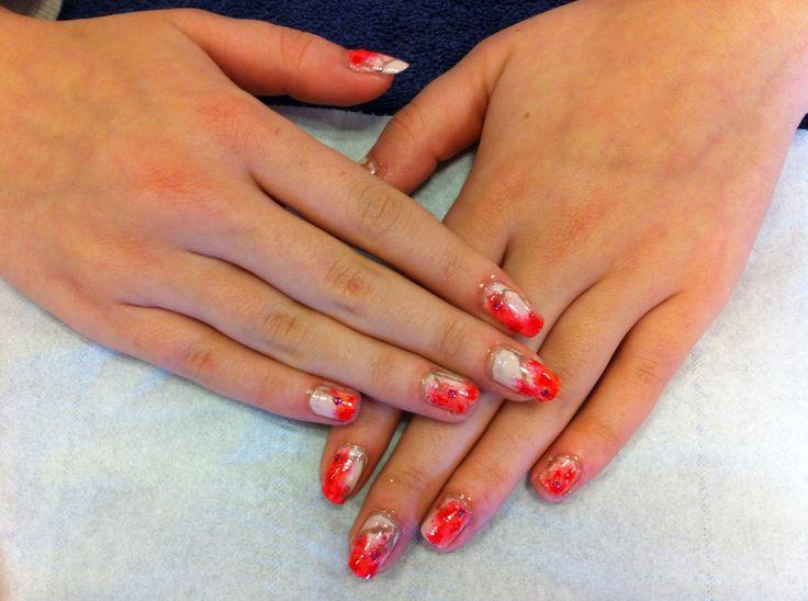 Flowery nail art design on natural nails