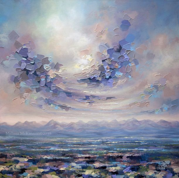 """Beneath the Surface"" 36""x36"" MELISSA MCKINNON Contemporary Abstract Landscape Artist features BIG COLOURFUL PAINTINGS of Aspen & Birch Trees, Rocky Mountains and stunning views of the Canadian prairies, big skies and ocean beaches. Western Art. Painting of clouds, sky and Canadian Rocky Mountains."