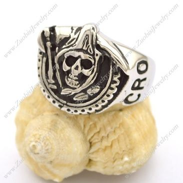 Sons of Anarchy Grim Reaper Stainless Steel Ring r002770 Item No. : r002770 Market Price : US$ 30.60 Sales Price : US$ 3.06 Category : Skull Rings