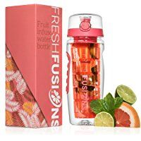 Fresh Fusions 32 oz Fruit Infuser Water Bottle And Insulated Sleeve Combo Set + Bonus Ebook - Now With Full Length Infuser