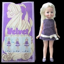 Velvet, growing hair doll, I still have her - wanted her over Chrissy because of her purple eyes and dress.