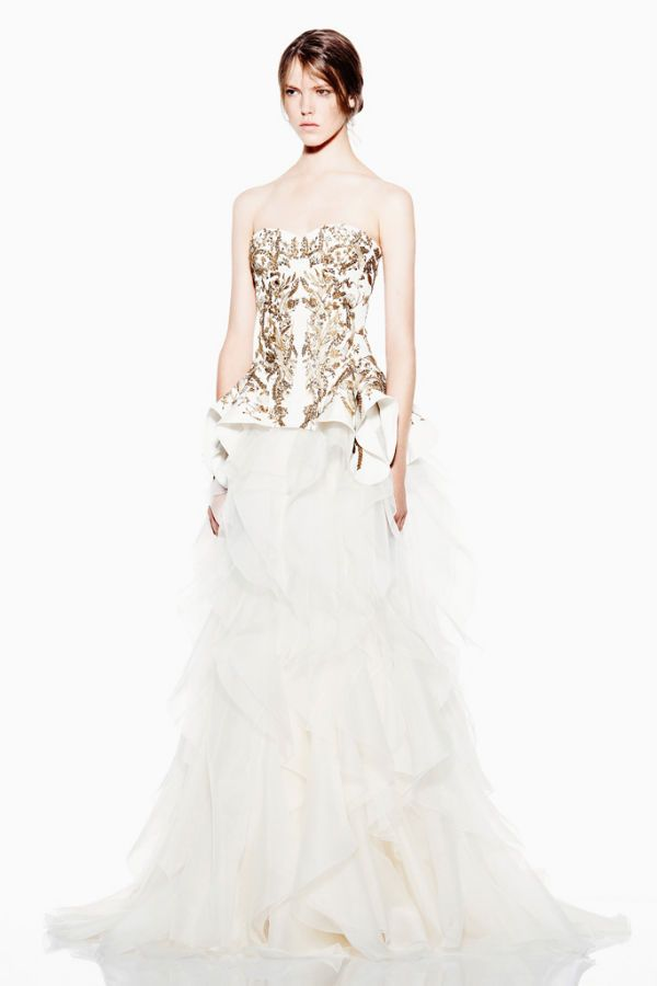 Alexander McQueen evening or wedding dress - gold detailed bodice and lots and lots of ruffles mmmmmm