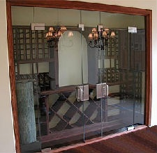 Beautiful glass door to see inside of this small wine cellar: Wet Bar, Glass Doors, Cellar Ideas, Glass Enclosed, Door Wine, Wine Room, Wine Cellars, Glass Wine Cellar