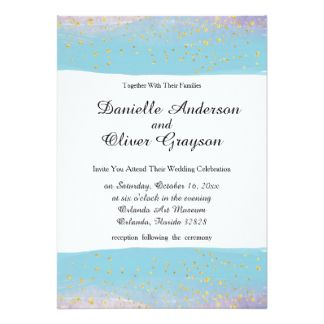 Blue, Purple & Gold Watercolor Wedding Invitation