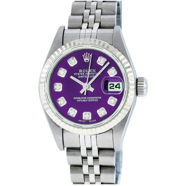 Pre-owned Rolex Datejust Watch ($3,730) ❤ liked on Polyvore featuring jewelry, watches, purple, purple jewelry, rolex wrist watch, pre owned jewelry, pre owned watches and preowned watches