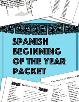 Spanish beginning of the year packet for Spanish, ESL with large Latino populations, bilingual ed, etc. Student info sheets, profiles, language study tips, common classroom phrases, activities, Latinos in the US and Spanish speakers around the world web quests- everything teachers need for the first week of school.