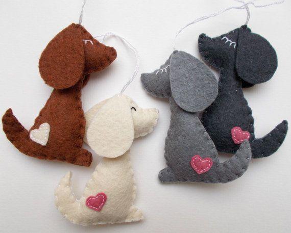 Felt dog ornament  handmande felt ornaments  puppy  by grabacoffee