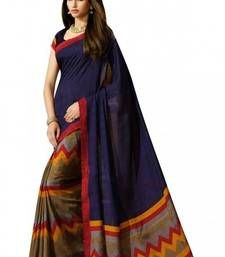 Buy blue printed art silk saree with blouse ethnic-saree online