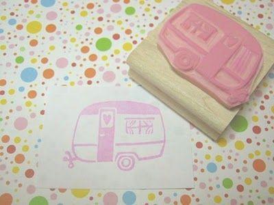campie stamp: Diy Stamps, Caravan, Hands, Hand Carved Rubber, Trailer Stamp