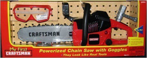 My First Craftsman Toy Chainsaw and Goggles by Sears, Roebuck and Co.. $55.48. Realistic cutting sounds and action puts this kid-safe toy chainsaw at the top of every kid's wish list. Set includes: 1 chain saw, 1 pair of goggles and scrench. Goggles are a toy and not for safety. For ages 3 and up. Requires 3 AA batteries, included