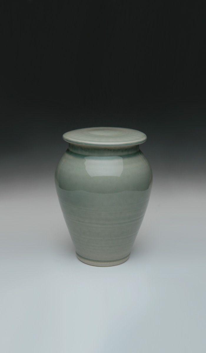 Celedon Blue hand crafted ceramic cremation urn. #ceramic #urns #funeral #memorials