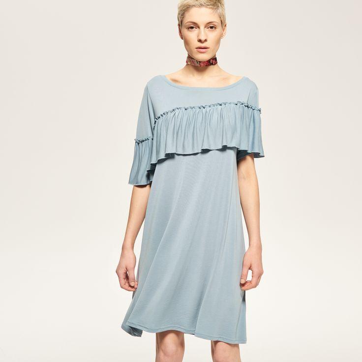 Sukienka z falbaną, RESERVED, RA969-05X