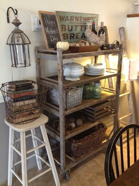 The bakers cooling rack would be a perfect addition to any eat in kitchen.  Use it for its intended purpose to cool baked goods or here as display space for collectibles.  Its industrial look would fit into any decor:  traditional, country eclectic, or industrial modern.