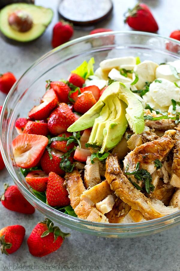 Juicy balsamic-grilled chicken and lots of fresh strawberries and creamy mozzarella cheese make for the ULTIMATE twist on caprese salad!