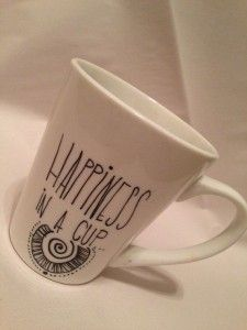 Happiness In A Cup. Inspiring, Customized Mugs with White Color