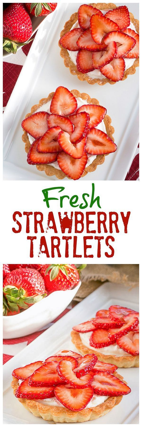 Fresh Strawberry Tartlets | Dreamy tartlets topped with luscious cream cheese filling and topped with berry slices @lizzydo