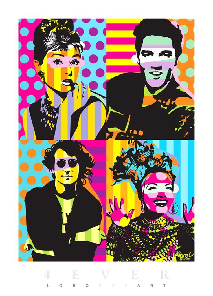 Audrey Hepburn, Elvis Presley, John Lennon, & Carmen Miranda - Ídolos Pop Art