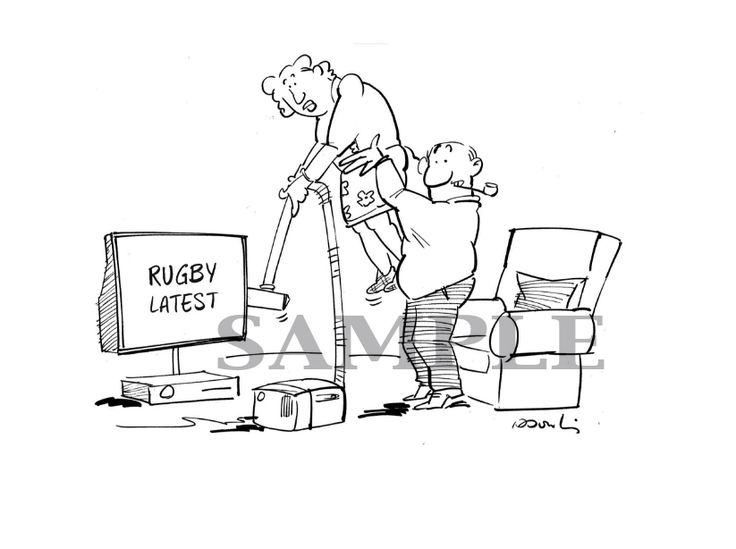 Cartoon, Rugby, 6 Nations, Dad, gift...  New Yorker style cartoon, original, ideal as a gift, get it on etsy.com/ie/shop/InkBig
