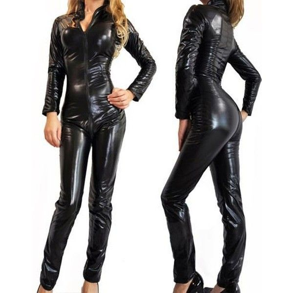 Forever Young Ladies Lycra Spandex Bodysuit Catsuit Dress PVC Catsuit... ($26) ❤ liked on Polyvore featuring costumes, party costumes, lady halloween costumes, ladies costumes, womens halloween costumes and ladies halloween costumes