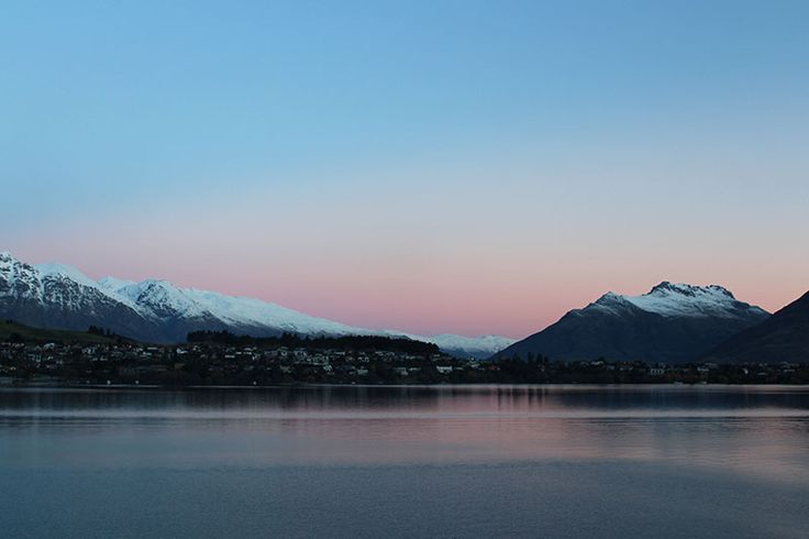 View out over Lake Wakatipu, the first snow to hit the hills in Queenstown for the winter.
