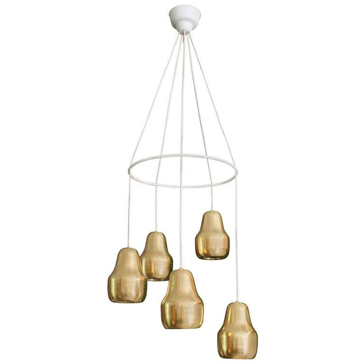 Scandinavian Chandelier with Five Adjustable Brass Lamps | From a unique collection of antique and modern chandeliers and pendants  at http://www.1stdibs.com/furniture/lighting/chandeliers-pendant-lights/