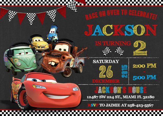 Disney Cars invitación cumpleaños Disney Cars por LuckyPixel