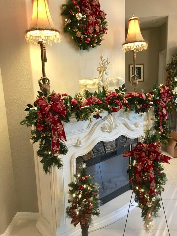 Crest Open On Christmas 2020 4 PC Set Christmas Wreath, Garland, Burgundy Crest Ribbons , FREE