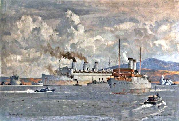 Norman Wilkinson: HM Troopship 'Queen Mary' at Anchor in the Clyde, Second World War