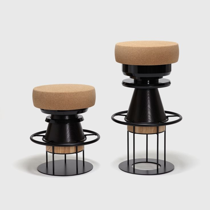 Tembo Is A Stool Made Of Stacked Pieces Of Wood, Metal, And Cork By