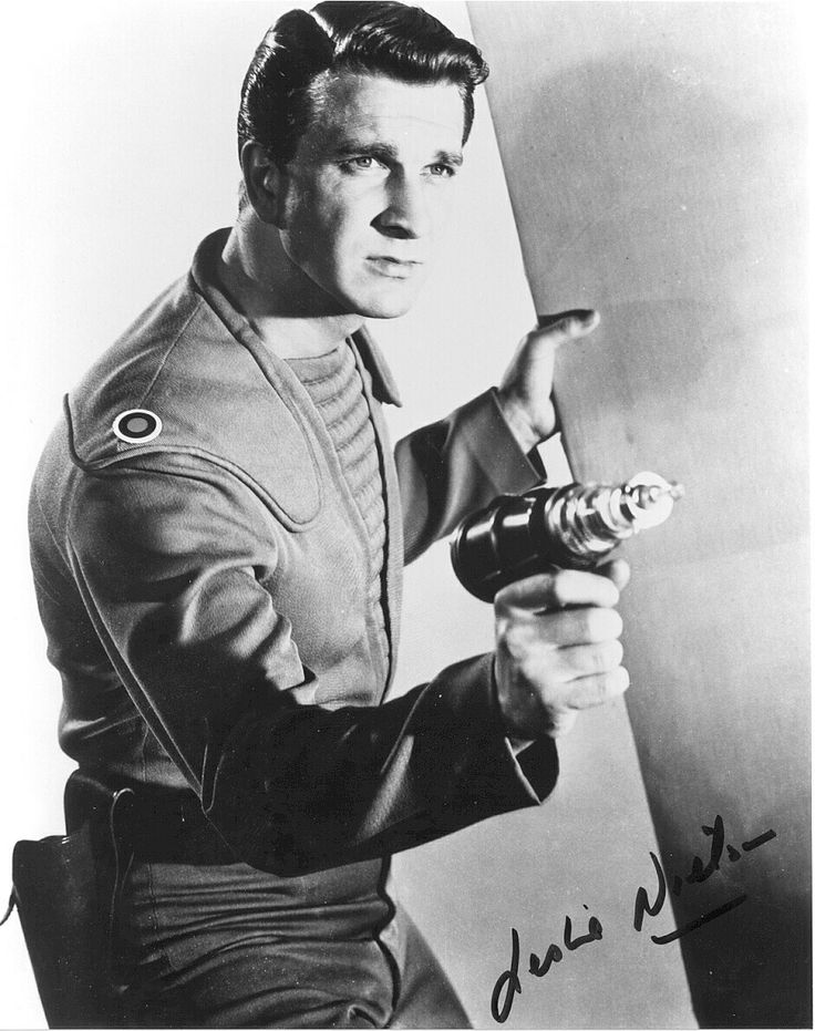 "Leslie Nielsen in ""Forbidden Planet"" way, way, before Airplane. Forbidden Plant still holds up as a good sci fi movie."