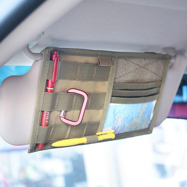 Tactical Vehicle Visor Panel MOLLE Car auto Sun Visor Holder Organizer Bag Pouch
