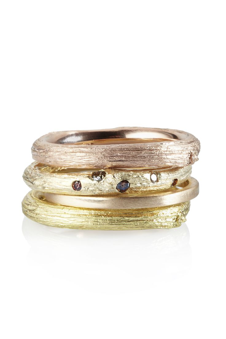 SAVAGE BEAUTY Stack Rings..18ct Rose, 18ct Yellow, 9ct Yellow with Cinnamon and Champagne Diamonds