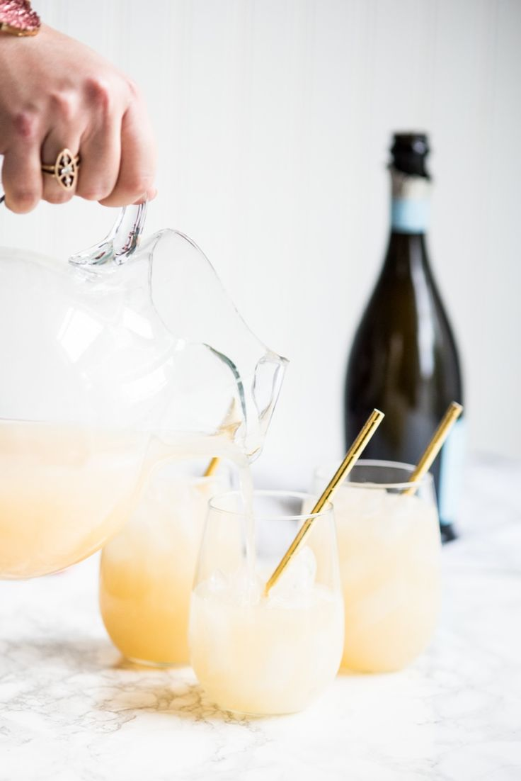Fizzy Spiked Pear Champagne Cocktail ... 4 cups pear juice 1 bottle prosecco or champagne 3/4 cup vanilla vodka 1/2 cup simple syrup Fresh pears for garnish Pour pear juice, vodka and simple syrup into a pitcher and stir to combine. Pop a bottle of bubbly and slowly pour the full bottle into the juice mixture in your pitcher. Stir again, gently. Fill glasses to the top with ice and serve up your pear punch! Garnish with slices of pear.