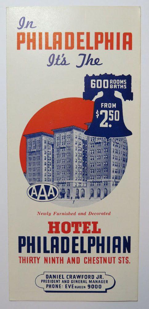 Vintage Travel Brochure Hotel Philadelphian Circa 1940s Philadelphia PA  #HotelPhiladelphian