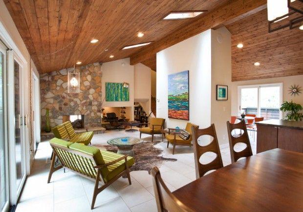 ** Ceiling vault in deneschuk house 14 Mid Century Modern Living Room Design Ideas