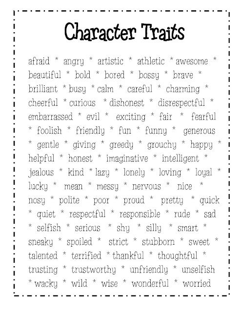 Descriptive words/character traits   UK-                                                             Relationq Eduacation Paper @ http://www.smartyoungthings.co.uk
