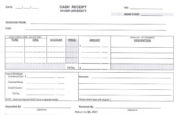 Xavier University - Financial Planning & Budgeting - Operational ... - receipt form