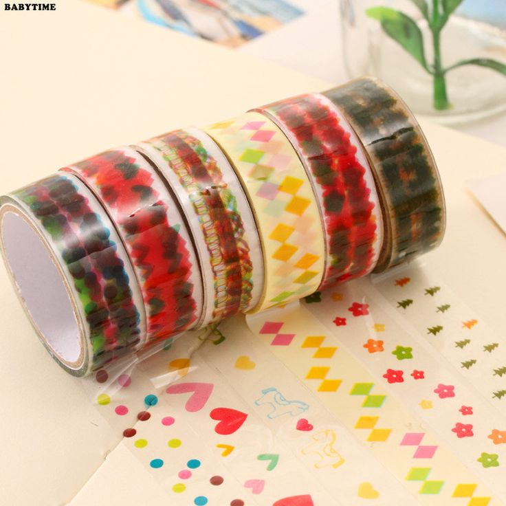 2pcs Tape Cartoon Decoration color Transparent Sticky Paper Masking Tape Self Adhesive Tape Scrapbook Office Stationery Supply