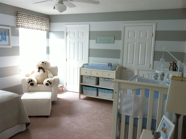 Baby Boy Nursery Grey Stripes With Baby Blue And Elephant
