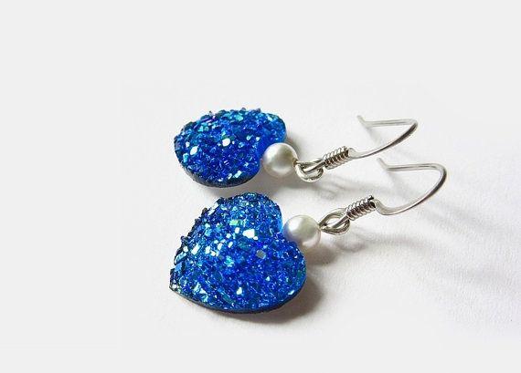 Blue heart earrings druzy heart earrings by AquascentCreations