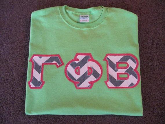 Sorority Letter Shirt Short Sleeve Appliqued by AllAboutGreek, $23.00