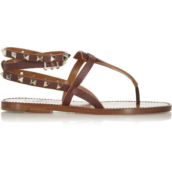 Valentino Studded textured-leather sandals ($630) found on Polyvore