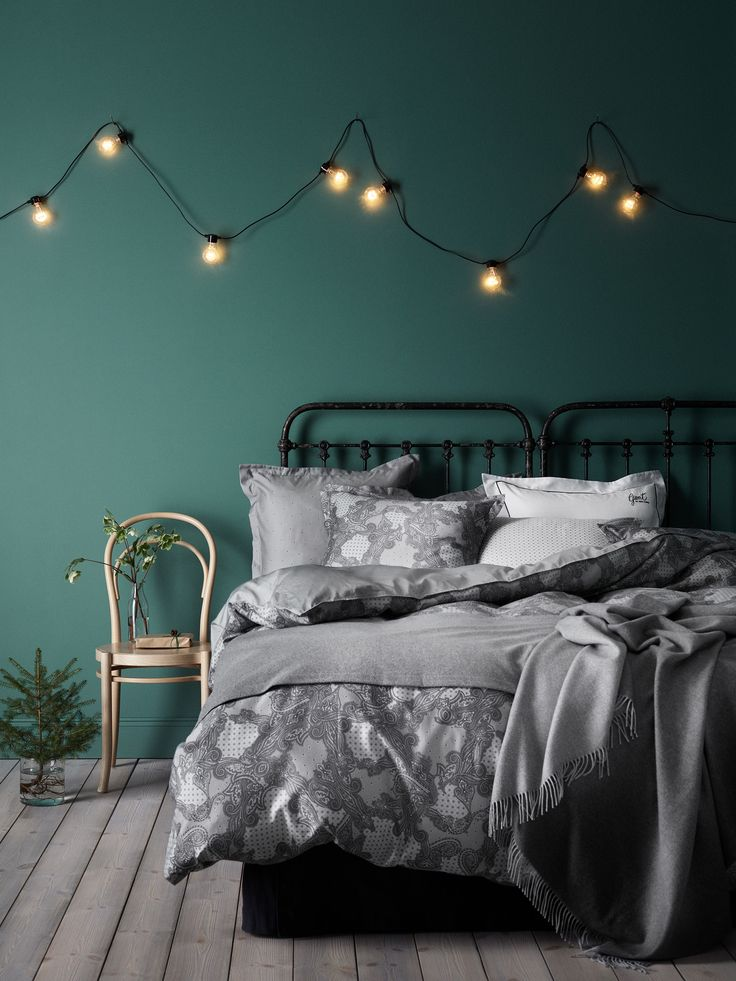 Green and grey bedroom