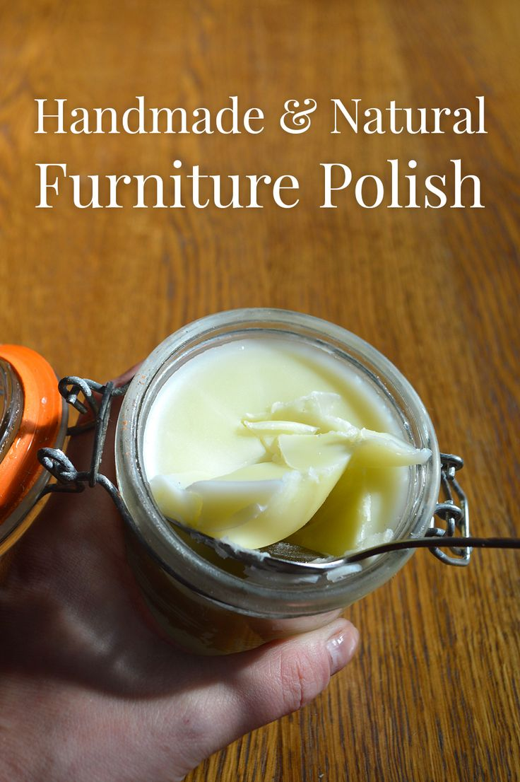 Beeswax furniture polish recipe:  150g (2/3 cup) Beeswax,  600g (3 cups) Olive oil,  30 drops Vitamin E,  10 drops Essential oil,