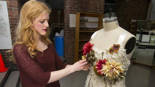 NSCAD student Stephanie McEwan gets ready for Thursday night's Wearable and Performance Art Show at the Pacifico nightclub. McEwan's work, Evangeline, which includes wool fibres, artificial flowers and sequins, will be among the many pieces featured at the 25th annual show.  http://wearableartshow.myevent.com/