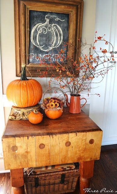 37 Awesome Fall Kitchen Décor Ideas : 37 Awesome Fall Kitchen Décor Ideas With White Wall Wooden Door Table Basket Table Pumpkin Decor And Hardwood Floor